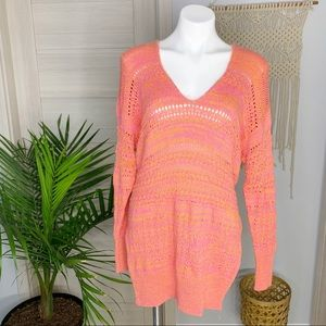 Free People   Hot Tropics Knit V-Neck Sweater